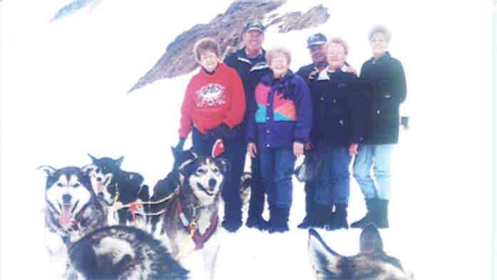 Six of us & dog sled